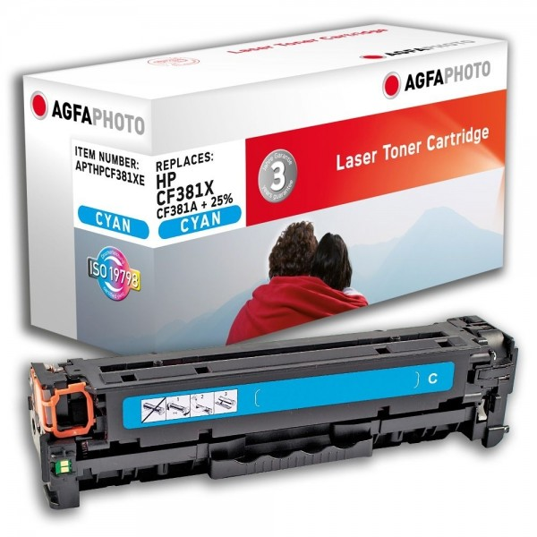AGFA Photo Toner cyan CF381X + 25% HP Color LaserJet PRO MFP M476 DN